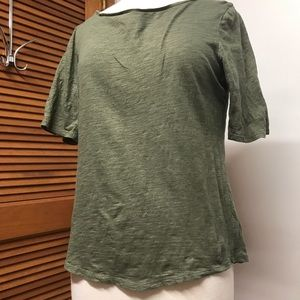 Loft Short Sleeve Olive and Gold Shimmy Tee Shirt